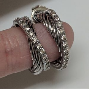 David Yurman Small Diamond Crossover Hoop Earrings